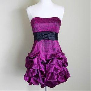 RubyRox Fuchsia Pink Satin Ruffle Bow Formal Dress